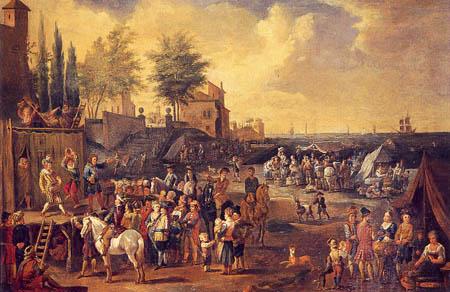 Peeter van Bredael - Jesters Performing in a Marketplace
