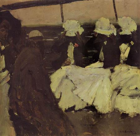 Georg H. Breitner - Promenadendeck mit drei Damen