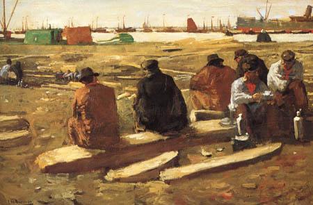 Georg H. Breitner - Port workers at the break