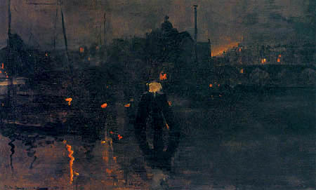 Georg H. Breitner - Het Ij at night