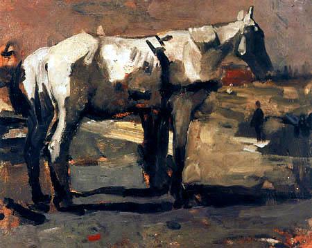 Georg H. Breitner - Pferde bei einer Baustelle