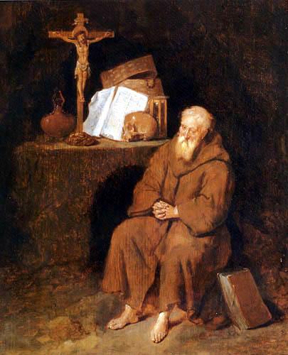 Gerritsz. Van Brekelenkam - An hermit sits before the altar