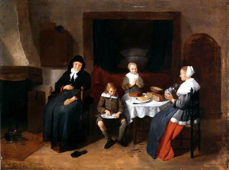 Gerritsz. Van Brekelenkam - Family when eating