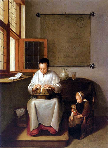 Gerritsz. Van Brekelenkam - A Woman Making Lace with a Small Child