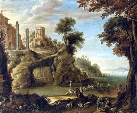 Paul Bril(l) - A classical river landscape with washerwomen and huntsmen