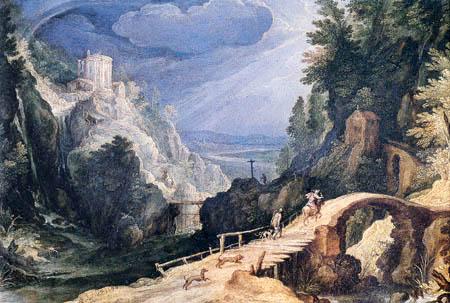 Paul Bril(l) - Mountain landscape with huntsmen