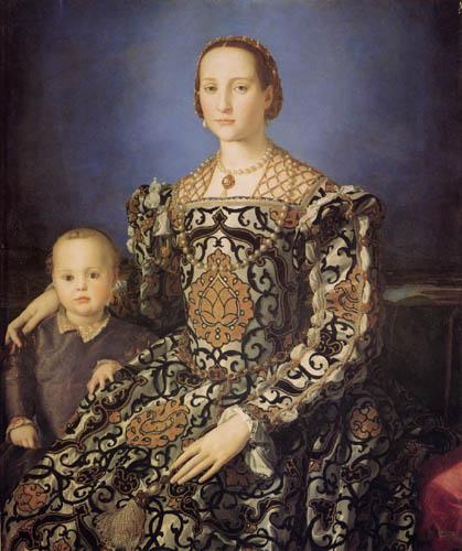 Il (Agnolo) Bronzino - Bildnis der Eleonora von Toledo mit Sohn