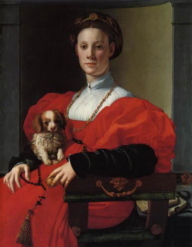 Il (Agnolo) Bronzino - Vornehme Dame mit Hündchen