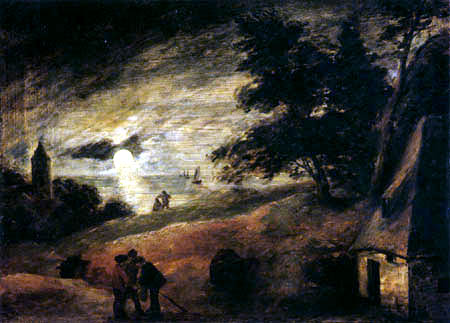Adriaen Brouwer - Dunes in moonlight