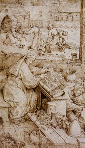 Pieter Brueghel the Elder - The Alchemist, Detail