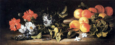 Abraham Brueghel - Still Life with Apricots and a Bunch of Flowers