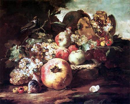 Abraham Brueghel - Still Life of Fruit with a Bird