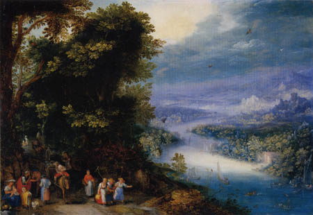 Jan Brueghel the Elder - Waldiges Flußtal