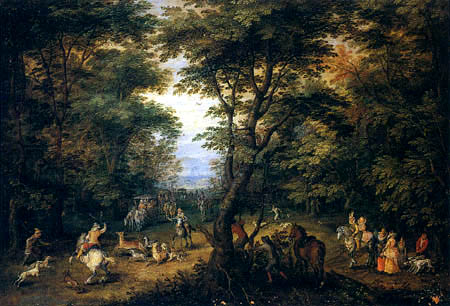 Jan Brueghel el Viejo - Caza de los ciervos en el bosque