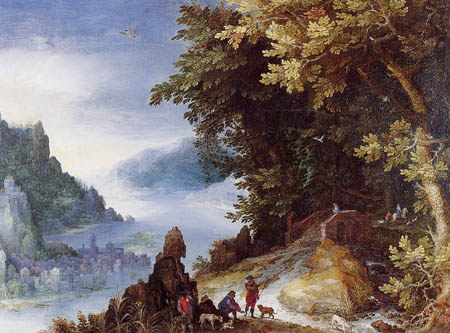 Jan Brueghel the Elder - River landscape with ramblers
