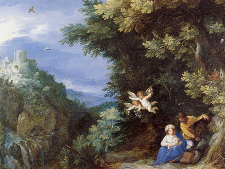 Jan Brueghel the Elder - Rest on the Flight into Egypt and the temple of Tivoli