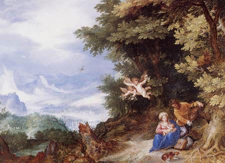 Jan Brueghel der Ältere - Ruhe auf der Flucht nach Ägypten