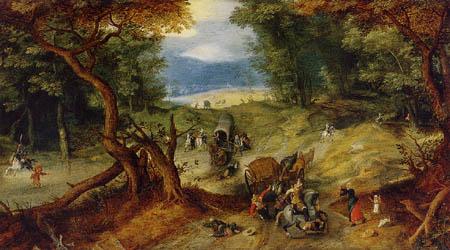 Jan Brueghel the Elder - Überfall auf eine Reisekutsche