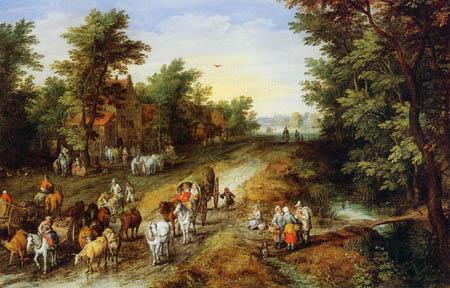Jan Brueghel the Elder - Gasthaus mit Reisenden