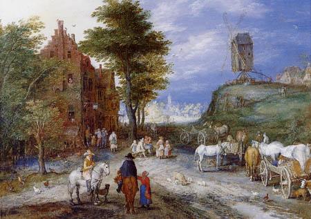 Jan Brueghel der Ältere - Dorfeingang mit Mühle