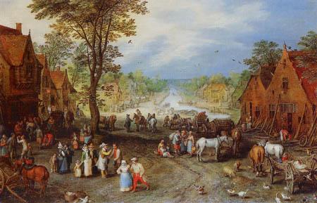 Jan Brueghel der Ältere - Dorfstraße mit einem Kanal