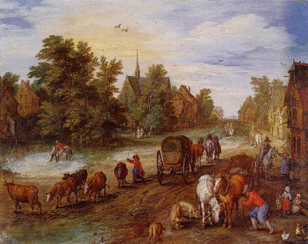 Jan Brueghel the Elder - Village route and resting travelers