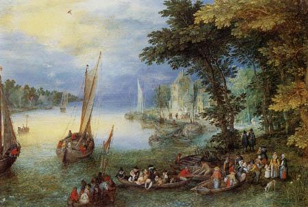 Jan Brueghel el Viejo - Paisaje de Río con barcos