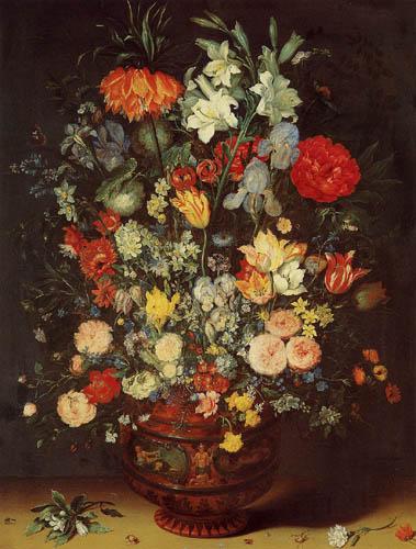 Jan Brueghel der Ältere - Blumen in einer Keramikvase