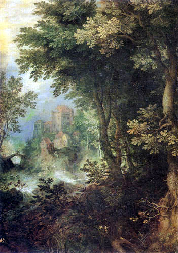 Jan Brueghel the Elder - Forest landscape with a castle in the background