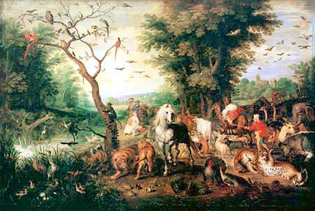 Jan Brueghel the Elder - Paradise Landscape with Noah's ark