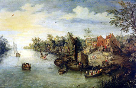 Jan Brueghel the Younger - River landscape with barges