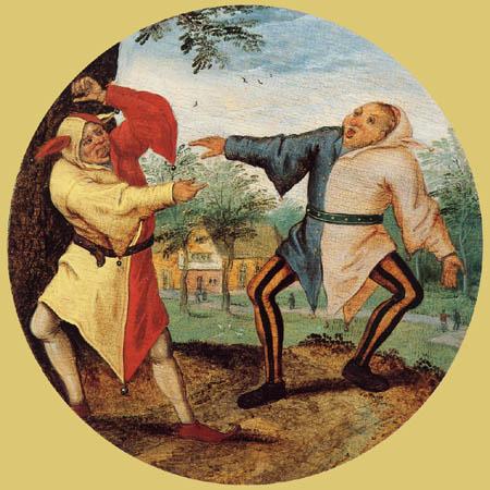 Pieter Brueghel the Younger - Zwei die sich die Zunge herausstrecken