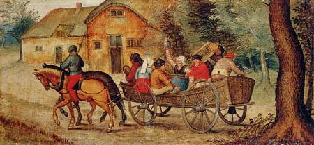 Pieter Brueghel the Younger - Kutschfahrt mit Bauern
