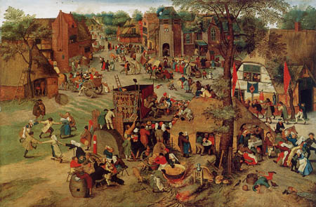 Pieter Brueghel the Younger - Village celebration with theatre play