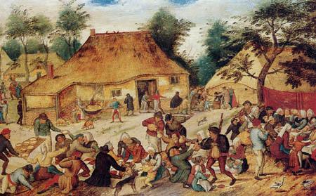 Pieter Brueghel the Younger - Village landscape with wedding celebration