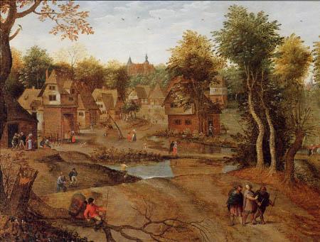 Pieter Brueghel the Younger - Village landscape with pilgrims