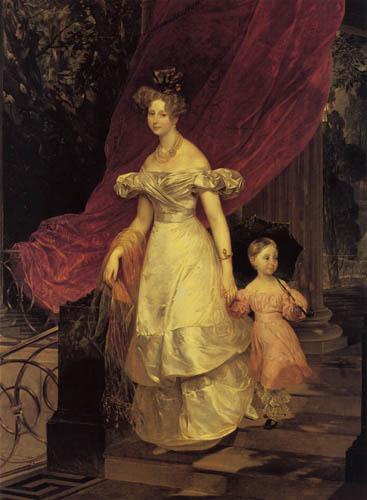 Karl Pawlowitsch Brüllow (Brjullow) - Die Großfürstin Jelena Pawlowna mit ihrer Tochter
