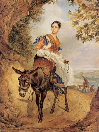 Karl Pawlowitsch Brüllow (Brjullow) - Gräfin O.P. Fersen auf einem Esel