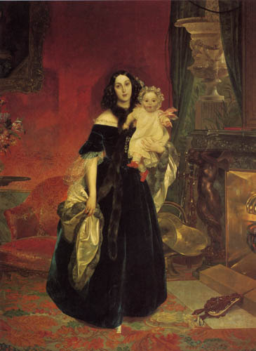 Karl Pavlovich Briullov - Portrait of  M.A. Bek with her daughter