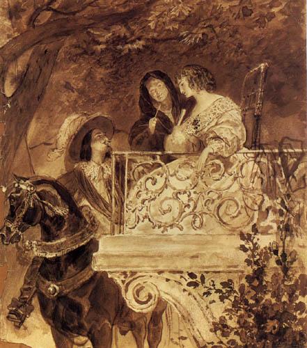 Karl Pawlowitsch Brüllow (Brjullow) - Zwei Damen und ein Ritter am Balkon