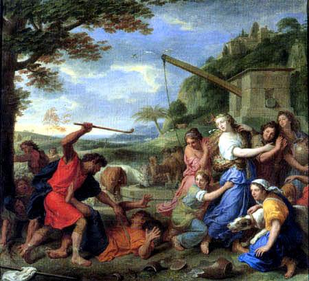 Charles le Brun - Moses verteidigt die Töchter von Jethro