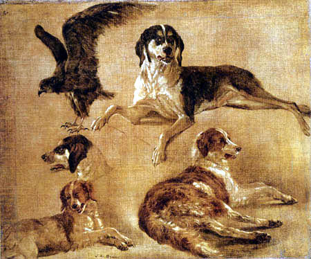Louis-Auguste Brun - Study of four Dogs and an Eagle