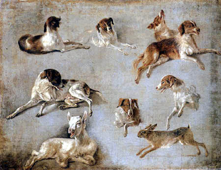 Louis-Auguste Brun - Study of seven Dogs a Hare and a Goat