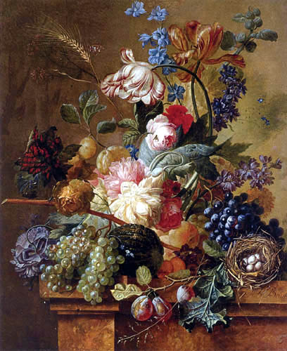 Paul Theodor van Brussel - Stilleben mit Blumen und Früchten