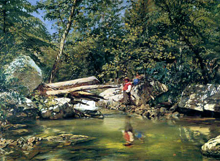 Frank Buchser - A forest brook with angler in Virginia