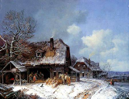 Heinrich Buerkel - Winterliches Dorf