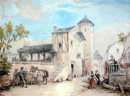 Heinrich Buerkel - Italian Street Scene