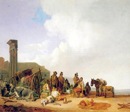 Heinrich Buerkel - Market scene