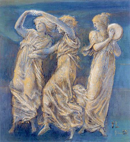 Sir Edward Burne-Jones - Drei weibliche Figuren, Tanzend und Spielend