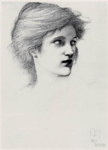 Sir Edward Burne-Jones - Estudio de la cabeza de una chica